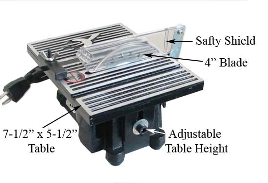 4 Mini Table Saw Hobby Crafts 4500rpm W 2 Blades
