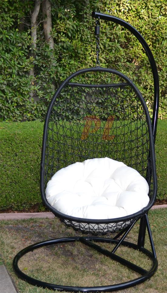 Wicker Rattan Swing Bed Chair Egg Shape Patio Black / Khaki